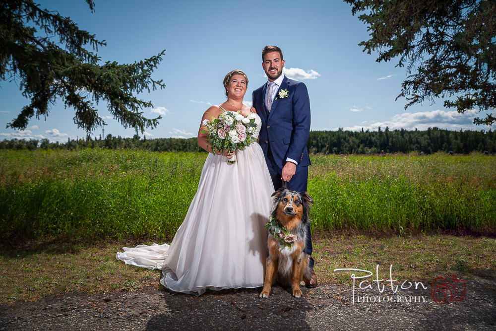Calgary bride and groom in beautiful Fish Creek with dog