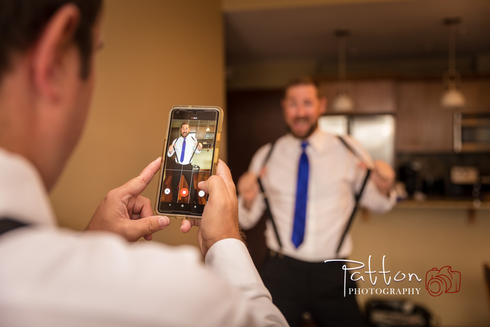 Calgary groomsmen joking around