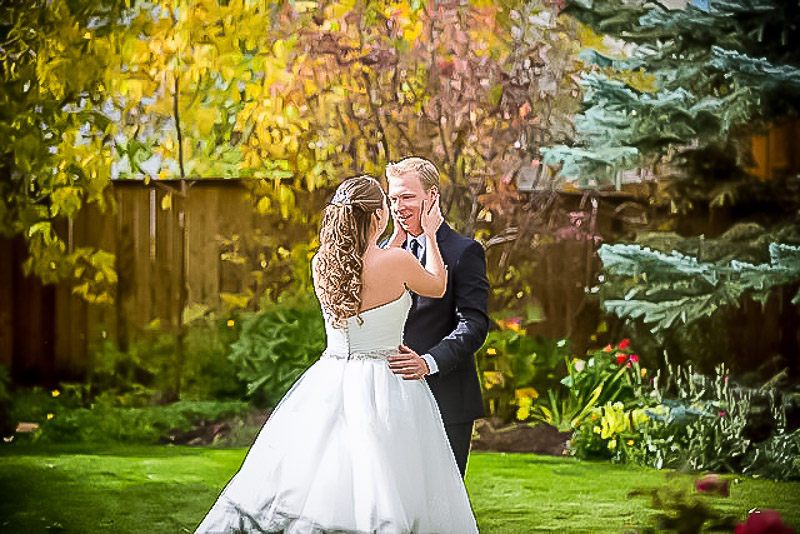 Calgary stampede wedding first look
