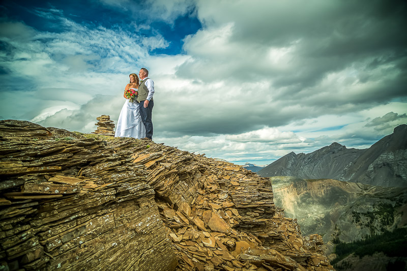 Calgary Mountain Cliff Helicopter Wedding
