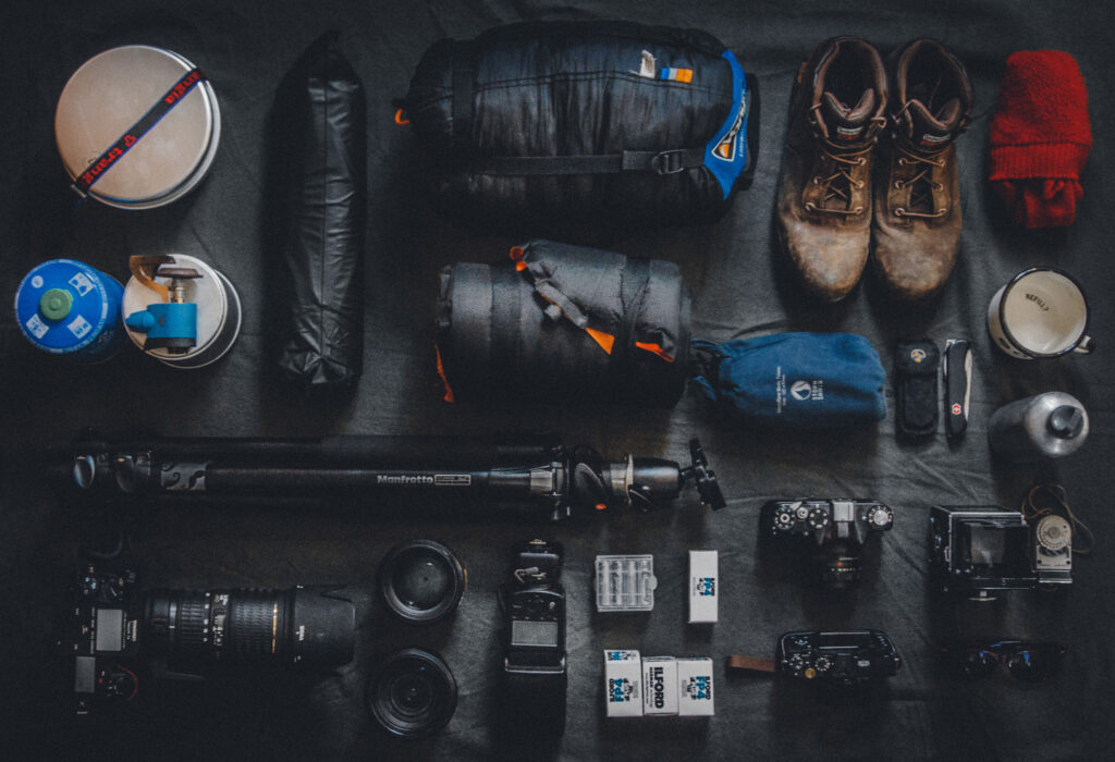 Photography and hiking equipment